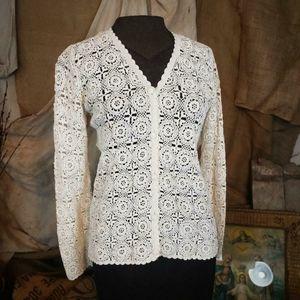 Vintage 1950s? Crochet lace style cardigan!